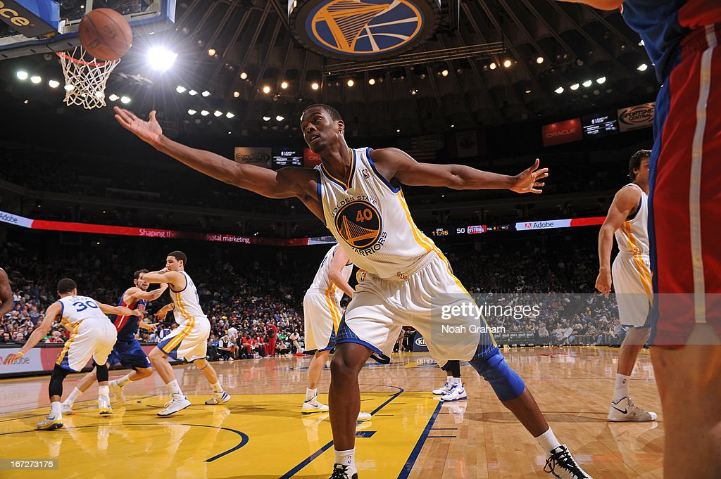 <a gi-track='captionPersonalityLinkClicked' href=/galleries/search?phrase=Harrison+Barnes&family=editorial&specificpeople=6893973 ng-click='$event.stopPropagation()'>Harrison Barnes</a> #40 of the Golden State Warriors goes for a rebound against the Detroit Pistons on March 13, 2013 at Oracle Arena in Oakland, California.
