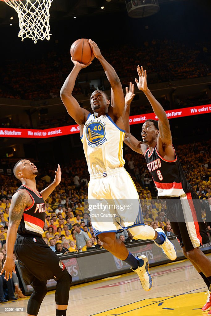 Harrison Barnes #40 of the Golden State Warriors goes for the lay up during the game against the Portland Trail Blazers in Game One of the Western Conference Semifinals during the 2016 NBA Playoffs on May 1, 2016 at ORACLE Arena in Oakland, California.