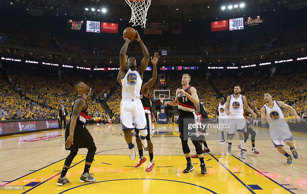 Harrison Barnes #40 of the Golden State Warriors goes up for a shot against the Portland Trail Blazers during Game One of the Western Conference Semifinals for the 2016 NBA Playoffs at ORACLE Arena on May 01, 2016 in Oakland, California.