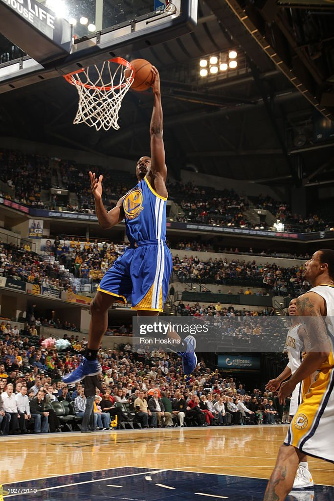 Harrison Barnes #40 of the Golden State Warriors goes up for the dunk against the Indiana Pacers on February 26, 2013 at Bankers Life Fieldhouse in Indianapolis, Indiana.