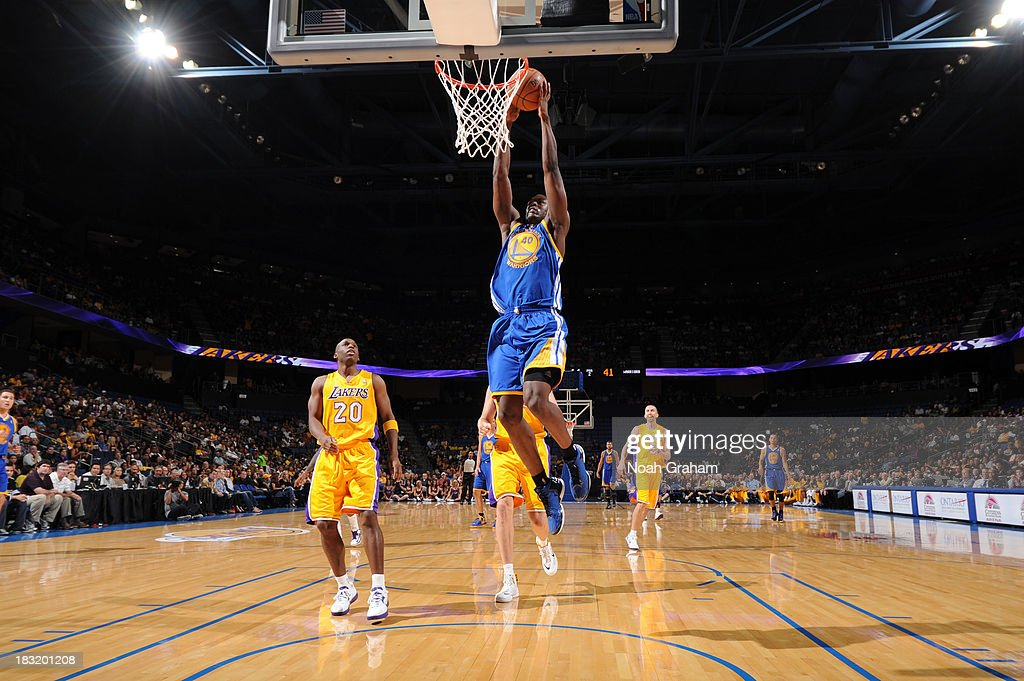 Harrison Barnes #40 of the Golden State Warriors goes up for the dunk against the Los Angeles Lakers at Citizens Business Bank Arena on October 5, 2013 in Ontario, California.