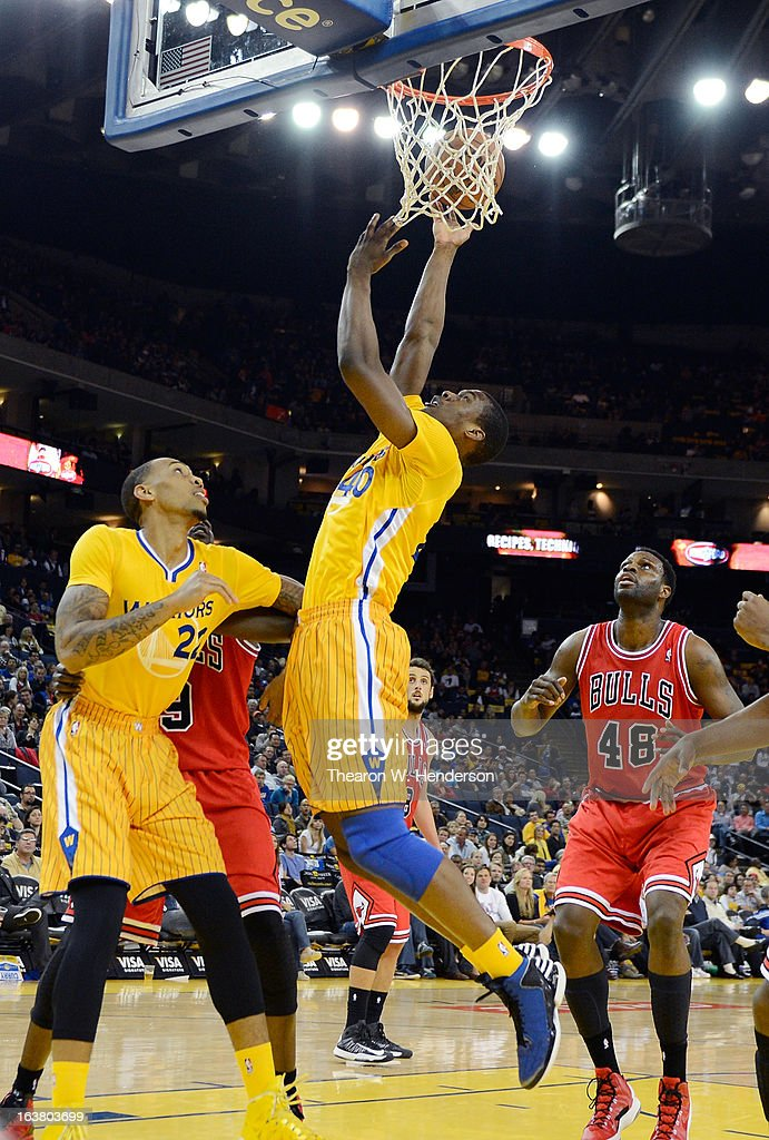 Harrison Barnes #40 of the Golden State Warriors goes up to shoot against the Chicago Bulls at Oracle Arena on March 15, 2013 in Oakland, California.