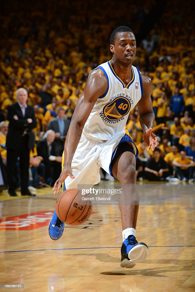 <a gi-track='captionPersonalityLinkClicked' href=/galleries/search?phrase=Harrison+Barnes&family=editorial&specificpeople=6893973 ng-click='$event.stopPropagation()'>Harrison Barnes</a> #40 of the Golden State Warriors handles the ball against the San Antonio Spurs in Game Three of the Western Conference Semifinals during the 2013 NBA Playoffs on May 10, 2013 at the Oracle Arena in Oakland, California.