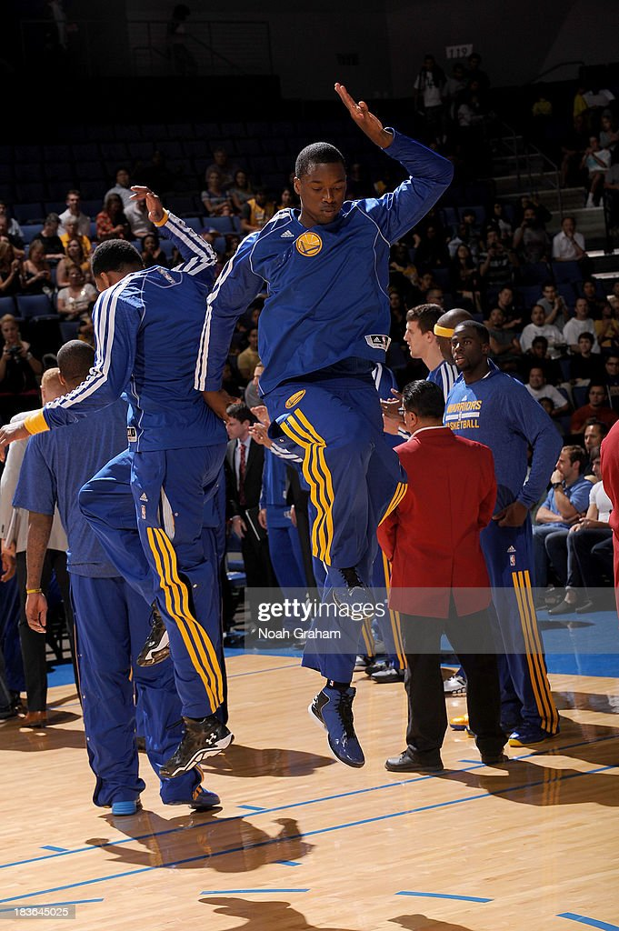 <a gi-track='captionPersonalityLinkClicked' href=/galleries/search?phrase=Harrison+Barnes&family=editorial&specificpeople=6893973 ng-click='$event.stopPropagation()'>Harrison Barnes</a> #40 of the Golden State Warriors is introduced prior to the game against the Los Angeles Lakers at Citizens Business Bank Arena on October 5, 2013 in Ontario, California.