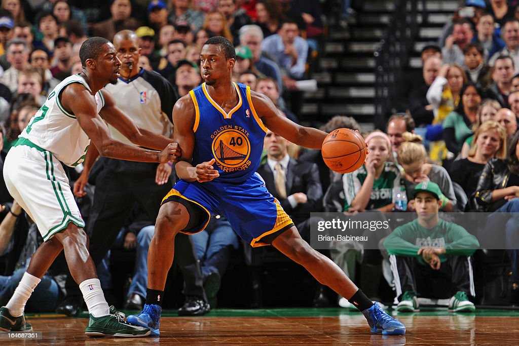 <a gi-track='captionPersonalityLinkClicked' href=/galleries/search?phrase=Harrison+Barnes&family=editorial&specificpeople=6893973 ng-click='$event.stopPropagation()'>Harrison Barnes</a> #40 of the Golden State Warriors looks to drive to the basket against the Boston Celtics on March 1, 2013 at the TD Garden in Boston, Massachusetts.