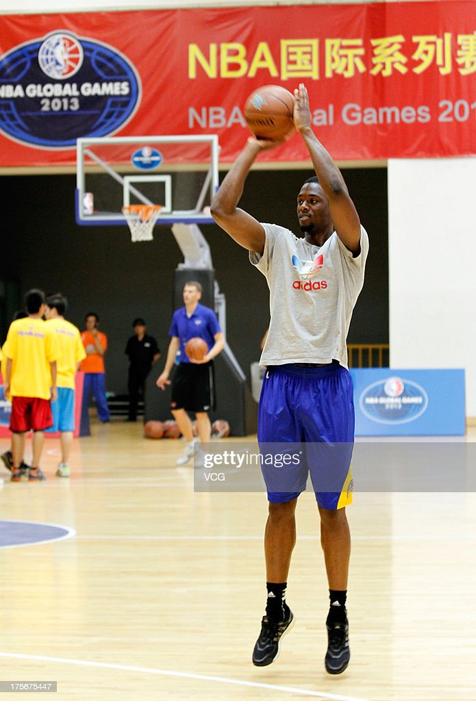 Harrison Barnes of the Golden State Warriors meets fans at Oriental Sports Center on August 6, 2013 in Shanghai, China.