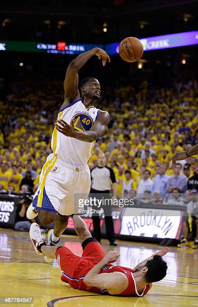 Harrison Barnes of the Golden State Warriors passes the ball after being fouled by JJ Redick of the Los Angeles Clippers in Game Six of the Western...