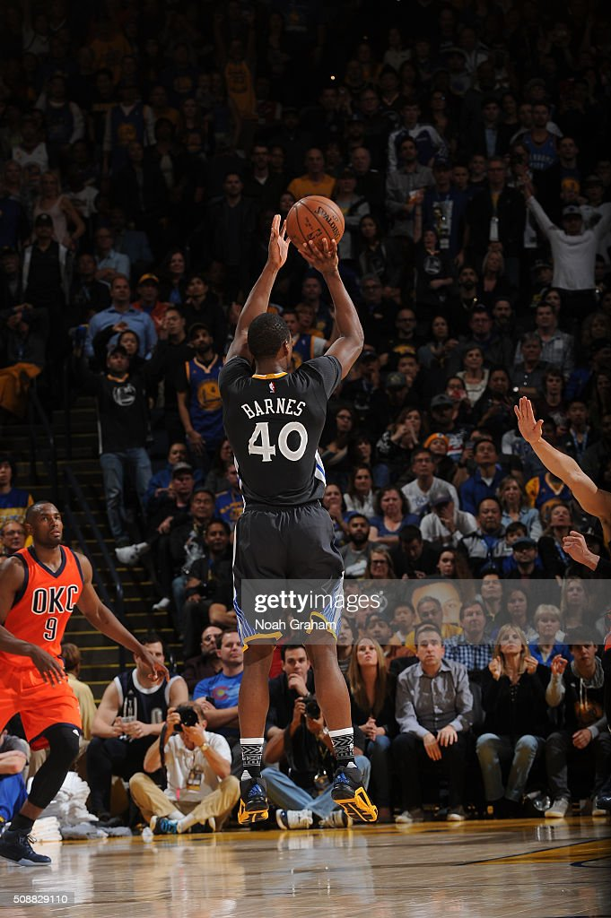 <a gi-track='captionPersonalityLinkClicked' href=/galleries/search?phrase=Harrison+Barnes&family=editorial&specificpeople=6893973 ng-click='$event.stopPropagation()'>Harrison Barnes</a> #40 of the Golden State Warriors shoots against the Oklahoma City Thunder on February 6, 2016 at Oracle Arena in Oakland, California.