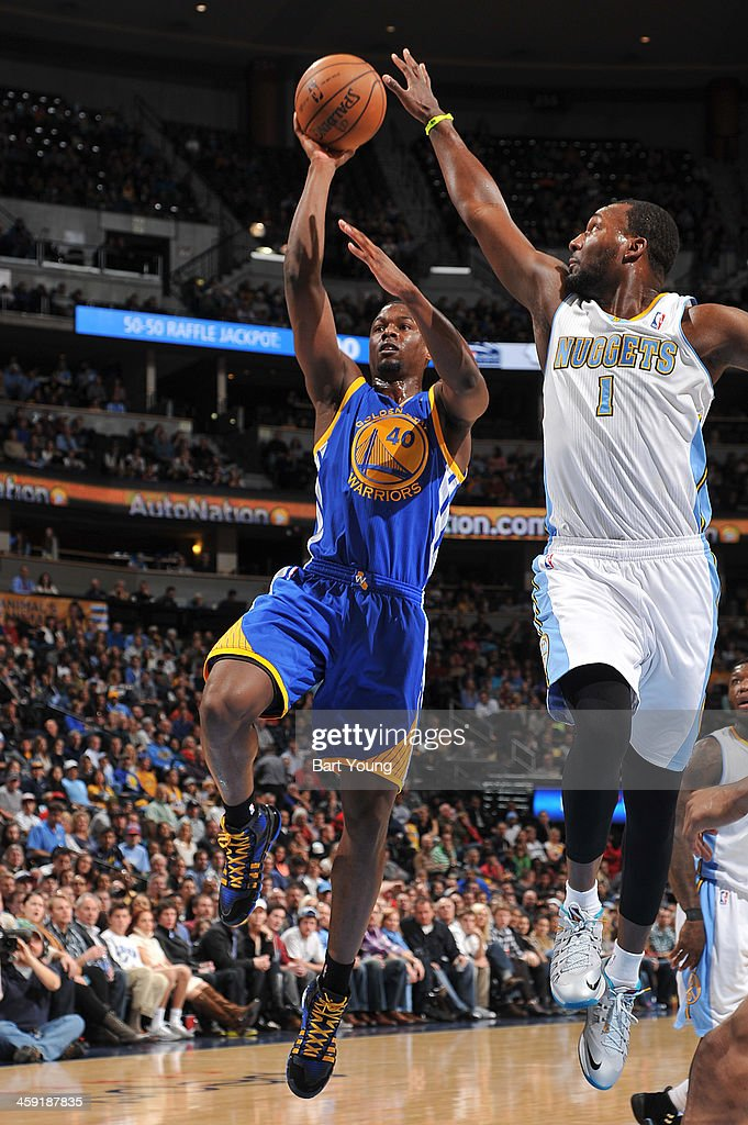 <a gi-track='captionPersonalityLinkClicked' href=/galleries/search?phrase=Harrison+Barnes&family=editorial&specificpeople=6893973 ng-click='$event.stopPropagation()'>Harrison Barnes</a> #40 of the Golden State Warriors shoots against the Denver Nuggets on December 23, 2013 at the Pepsi Center in Denver, Colorado.