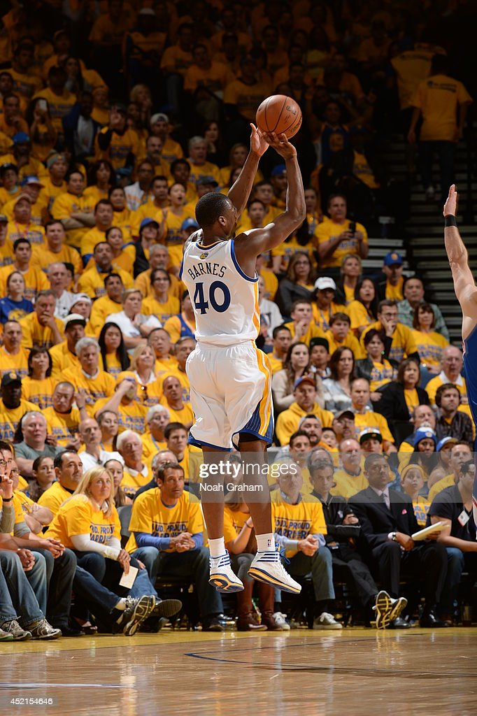<a gi-track='captionPersonalityLinkClicked' href=/galleries/search?phrase=Harrison+Barnes&family=editorial&specificpeople=6893973 ng-click='$event.stopPropagation()'>Harrison Barnes</a> #40 of the Golden State Warriors shoots the ball against the Los Angeles Clippers in Game Four of the Western Conference Quarterfinals at Oracle Arena on April 27, 2014 in Oakland, California.