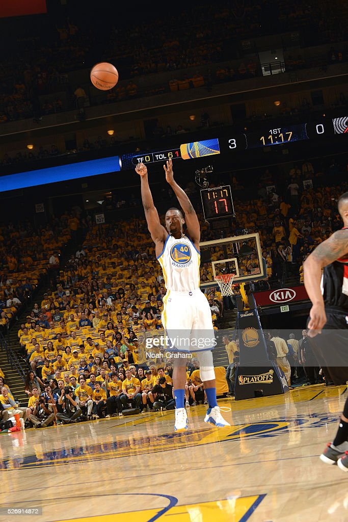 Harrison Barnes #40 of the Golden State Warriors shoots the ball during the game against the Portland Trail Blazers in Game One of the Western Conference Semifinals during the 2016 NBA Playoffs on May 1, 2016 at ORACLE Arena in Oakland, California.