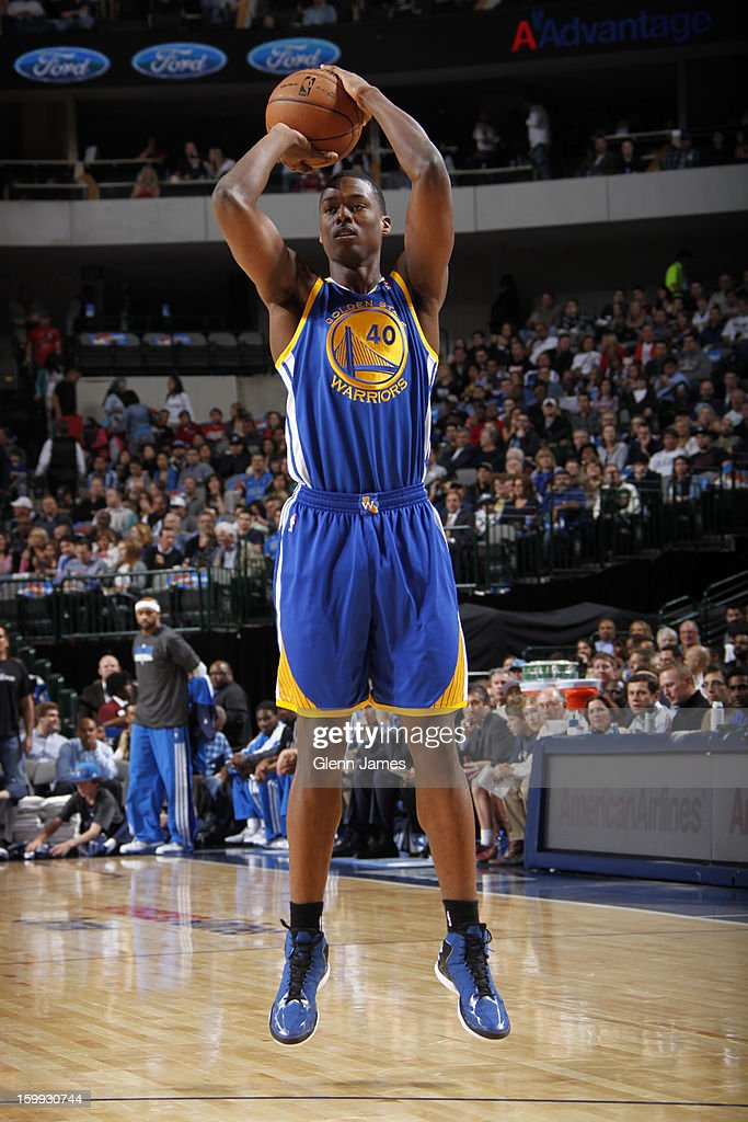 <a gi-track='captionPersonalityLinkClicked' href=/galleries/search?phrase=Harrison+Barnes&family=editorial&specificpeople=6893973 ng-click='$event.stopPropagation()'>Harrison Barnes</a> #40 of the Golden State Warriors takes a shot against the Dallas Mavericks on November 19, 2012 at the American Airlines Center in Dallas, Texas.