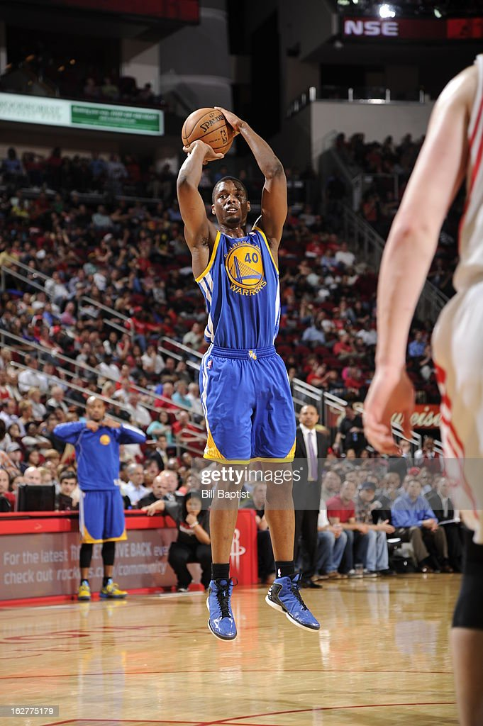 <a gi-track='captionPersonalityLinkClicked' href=/galleries/search?phrase=Harrison+Barnes&family=editorial&specificpeople=6893973 ng-click='$event.stopPropagation()'>Harrison Barnes</a> #40 of the Golden State Warriors takes a shot against the Houston Rockets on February 5, 2013 at the Toyota Center in Houston, Texas.