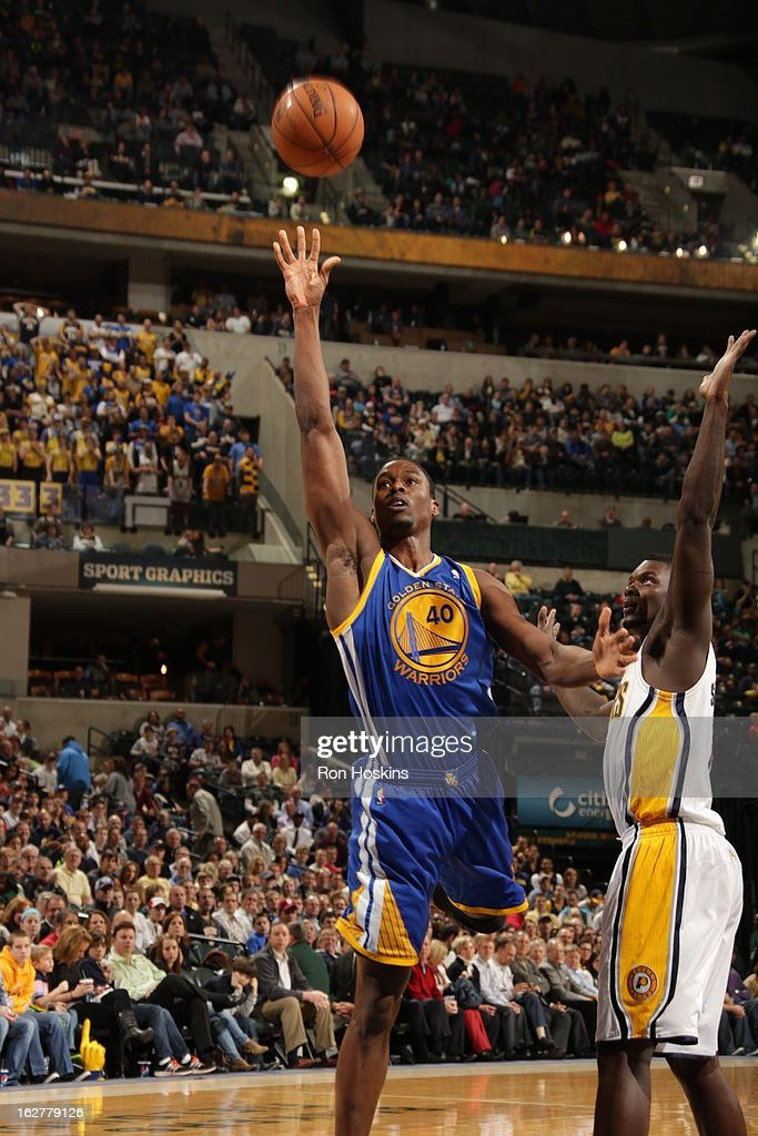 Harrison Barnes #40 of the Golden State Warriors takes an awkward shot against the Indiana Pacers on February 26, 2013 at Bankers Life Fieldhouse in Indianapolis, Indiana.