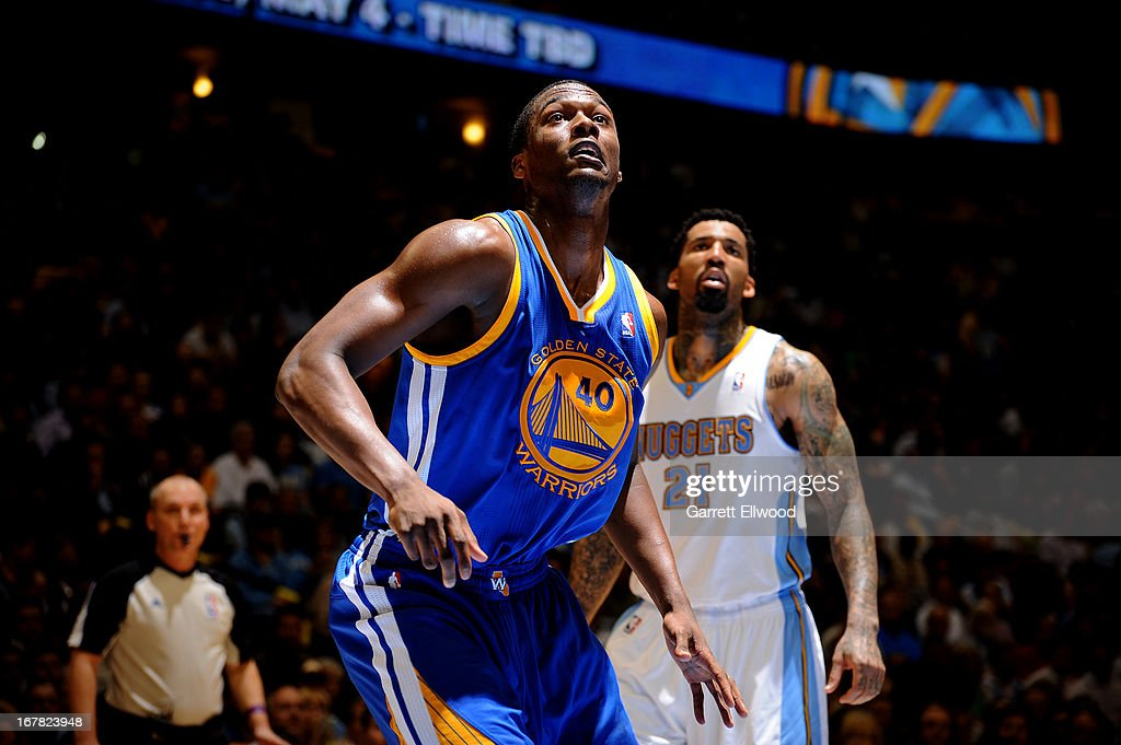 Harrison Barnes #40 of the Golden State Warriors waits for a rebound against the Denver Nuggets in Game Five of the Western Conference Quarterfinals during the 2013 NBA Playoffs on April 30, 2013 at the Pepsi Center in Denver, Colorado.