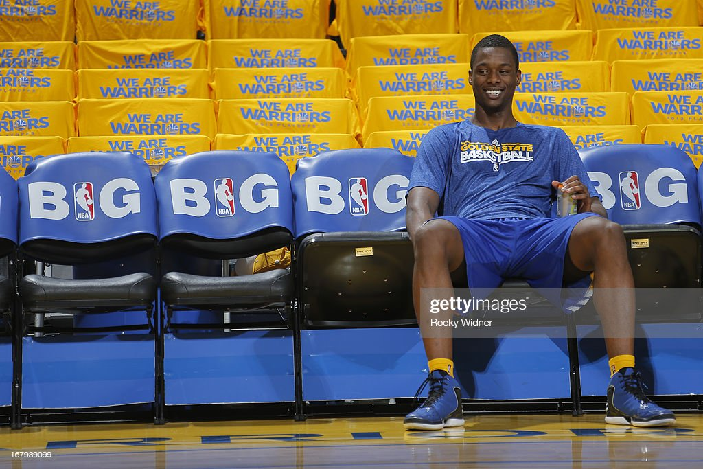 Harrison Barnes #40 of the Golden State Warriors warms up before playing the Denver Nuggets in Game Six of the Western Conference Quarterfinals during the 2013 NBA Playoffs on May 2, 2013 at Oracle Arena in Oakland, California.