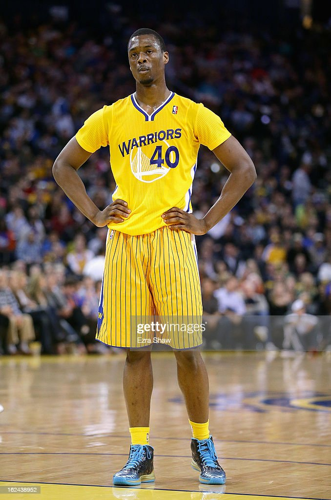 Harrison Barnes #40 of the Golden State Warriors wears a new adidas short-sleeved uniform during their game against the San Antonio Spurs at Oracle Arena on February 22, 2013 in Oakland, California. The Warriors won the game in overtime.