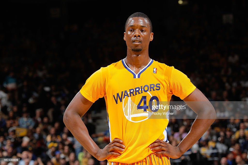 Harrison Barnes of the Golden State Warriors wears his new Adidas shortsleeved jersey during a game against the San Antonio Spurs on February 22 2013...