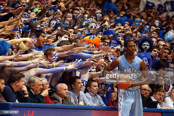 Harrison Barnes of the North Carolina Tar Heels against the Duke Blue Devils during their game at Cameron Indoor Stadium on February 9 2011 in Durham...