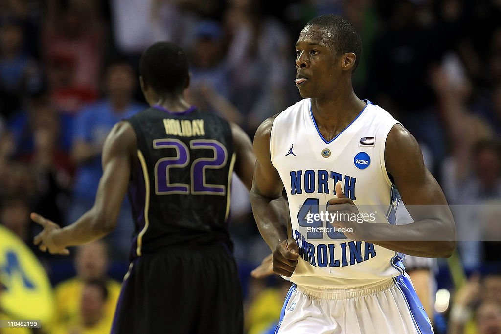 <a gi-track='captionPersonalityLinkClicked' href=/galleries/search?phrase=Harrison+Barnes&family=editorial&specificpeople=6893973 ng-click='$event.stopPropagation()'>Harrison Barnes</a> #40 of the North Carolina Tar Heels reacts in the second half while taking on the Washington Huskies during the third round of the 2011 NCAA men's basketball tournament at Time Warner Cable Arena on March 20, 2011 in Charlotte, North Carolina.