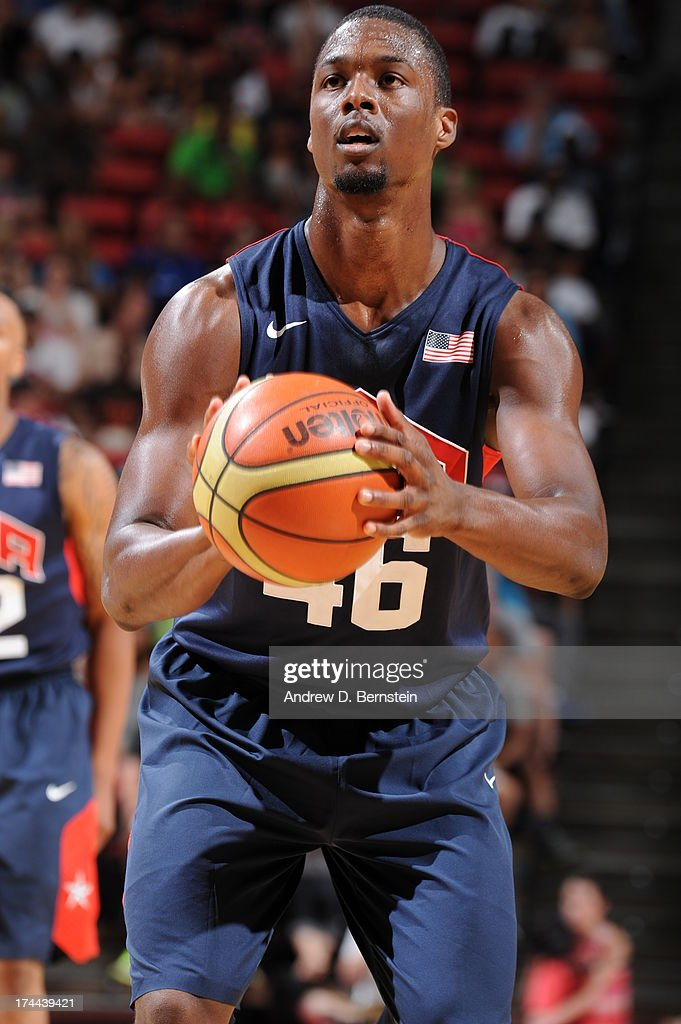Harrison Barnes #46 of the USA Blue Team attempts a free-throw during the 2013 USA Basketball Showcase at the Thomas and Mack Center on July 25, 2013 in Las Vegas, Nevada.