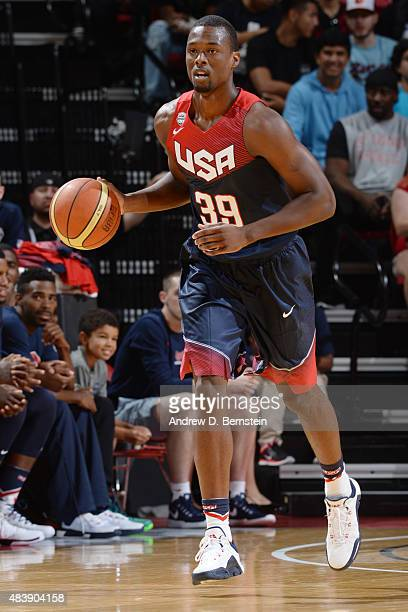 Harrison Barnes of USA Blue handles the ball against USA White during the Team USA Basketball Showcase on August 13 2015 at the Thomas Mack Center in...
