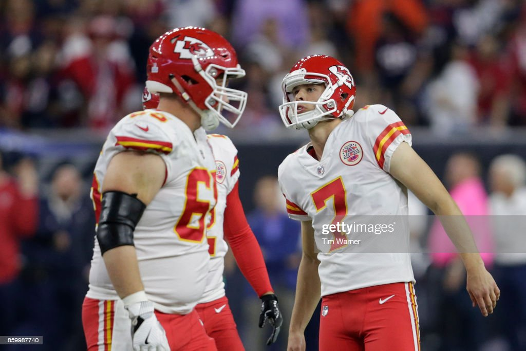 Harrison Butker #7 of the Kansas City Chiefs watches a field goal in the second half Houston Texans at NRG Stadium on October 8, 2017 in Houston, Texas.
