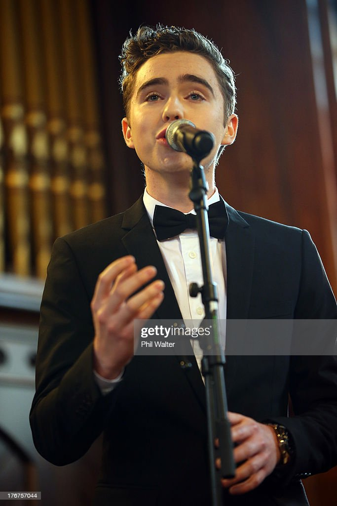 Harrison Craig sings at the wedding of Natasha Vitali and Melissa Ray at the Auckland Unitary Church on August 19, 2013 in Auckland, New Zealand. New Zealand passed a bill to legalize same-sex marriage as of August 19, 2013. New Zealand is the first coutry in Oceania to leaglize same-sex marriage.