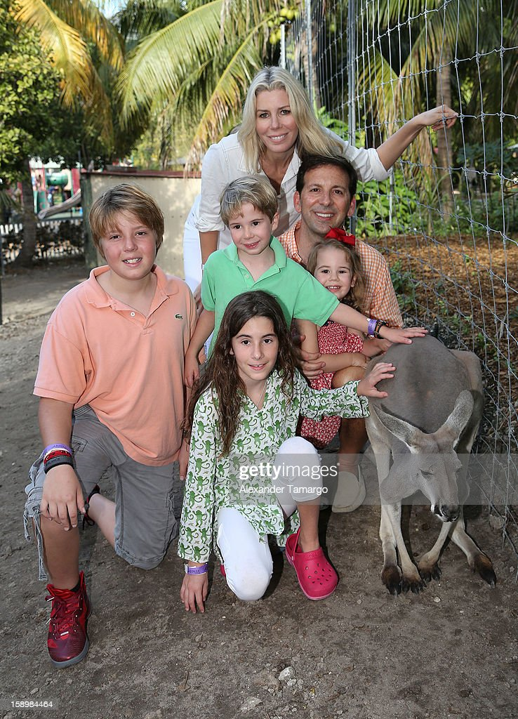 Harrison Drescher, Veronica Drescher, Hudson Drescher, Aviva Drescher, Reid Drescher and Sienna Drescher are seen during the Jungle Island VIP Safari Tour at Jungle Island on January 4, 2013 in Miami, Florida.