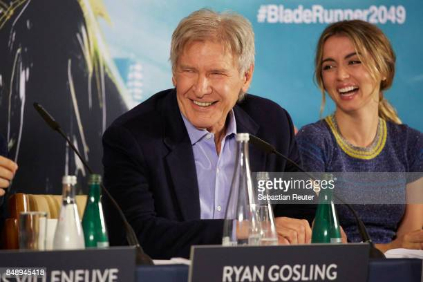 Harrison Ford and Ana de Armas are seen at a press panel at Hotel Adlon on September 18 2017 in Berlin Germany