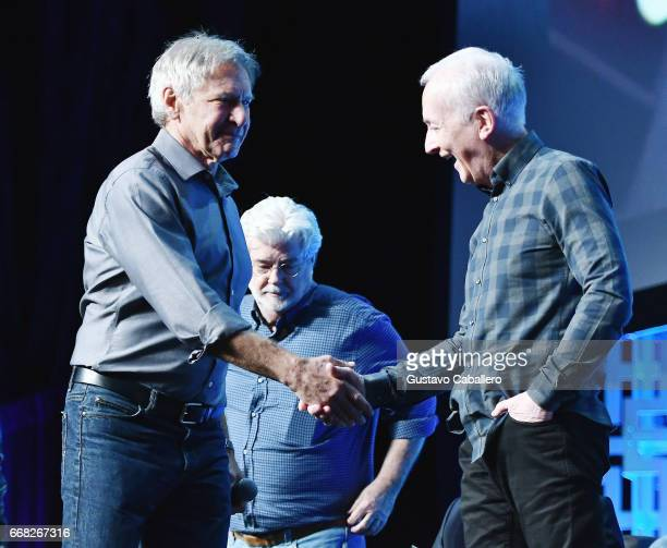 ORLANDO FL APRIL 13 Harrison Ford and Anthony Daniels attend the Star Wars Celebration Day 1 on April 13 2017 in Orlando Florida