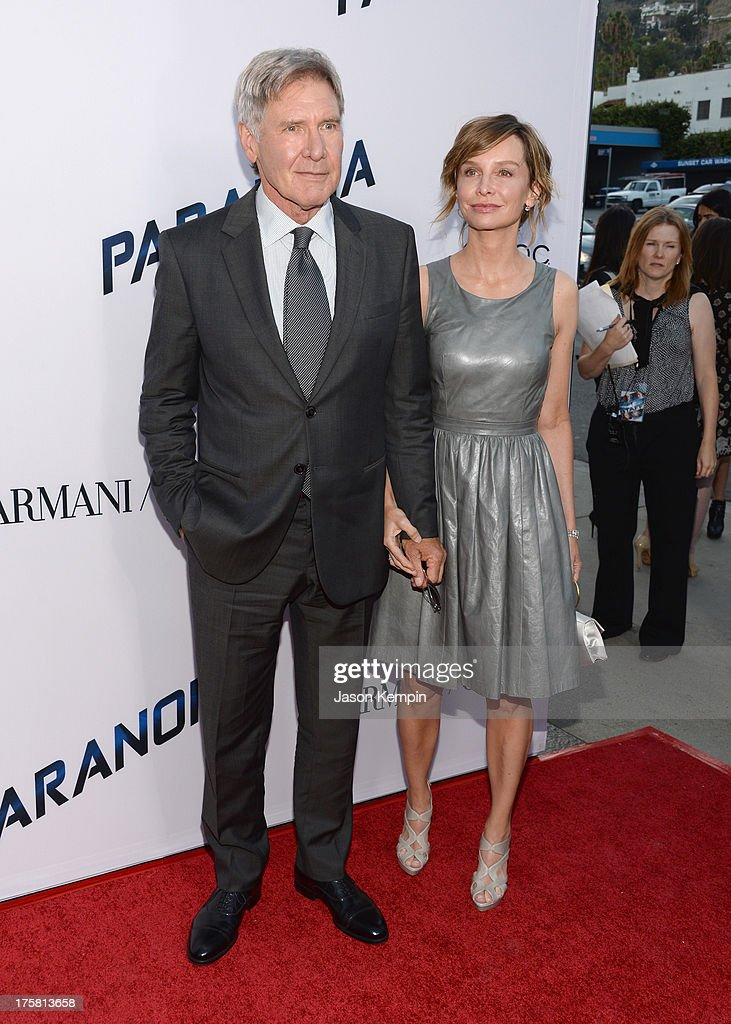 <a gi-track='captionPersonalityLinkClicked' href=/galleries/search?phrase=Harrison+Ford+-+Actor+-+Born+1942&family=editorial&specificpeople=11508906 ng-click='$event.stopPropagation()'>Harrison Ford</a> and <a gi-track='captionPersonalityLinkClicked' href=/galleries/search?phrase=Calista+Flockhart&family=editorial&specificpeople=204604 ng-click='$event.stopPropagation()'>Calista Flockhart</a> attend the premiere of Relativity Media's 'Paranoia' at DGA Theater on August 8, 2013 in Los Angeles, California.