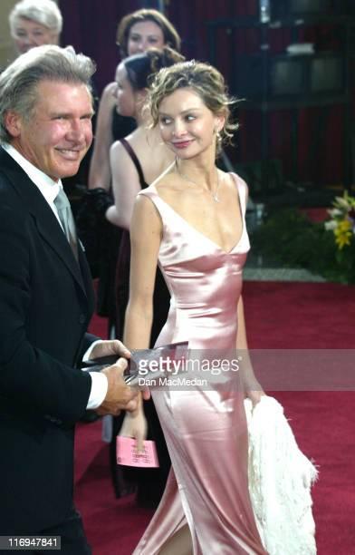 Harrison Ford and Calista Flockhart wearing Badgley Mischka