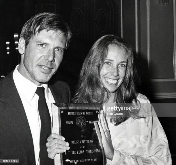 Harrison Ford and Melissa Mathison during Writers Guild Awards April 7 1983 at Beverly Hilton Hotel in Beverly Hills California United States