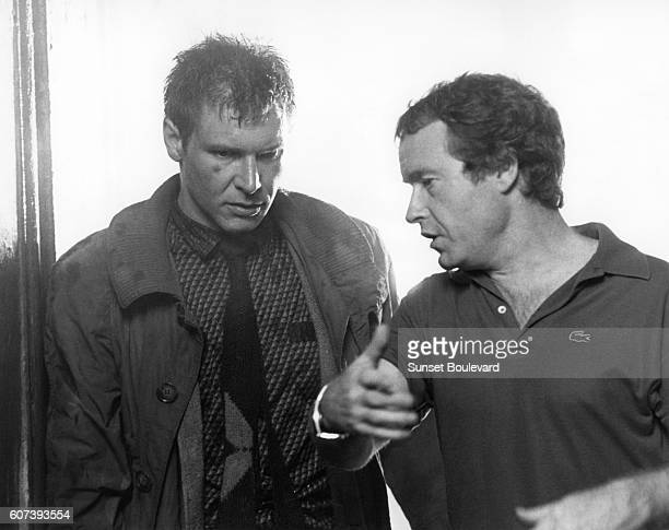 Harrison Ford and Ridley Scott on the set of 'Blade Runner' directed by Ridley Scott