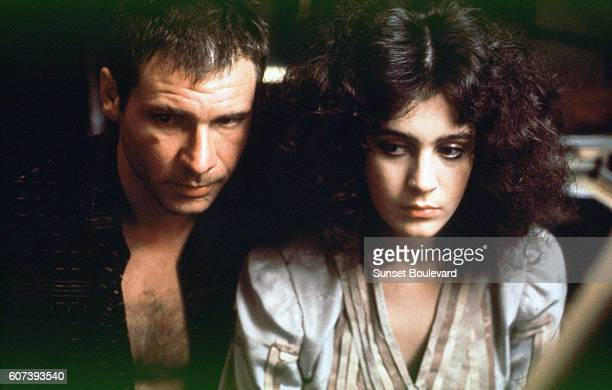 Harrison Ford and Sean Young on the set of 'Blade Runner' directed by Ridley Scott