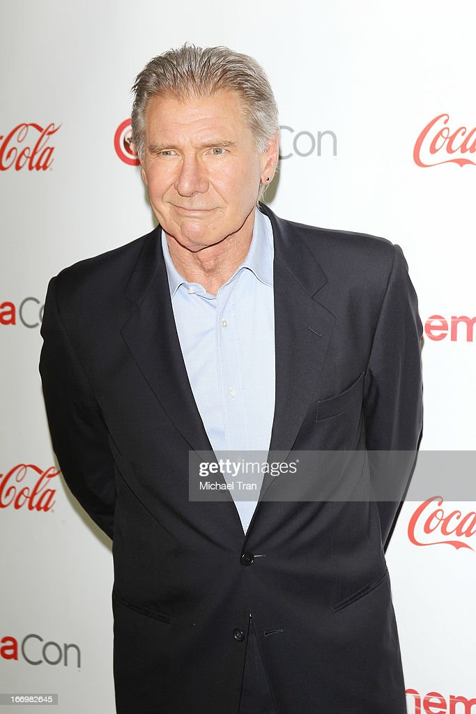 <a gi-track='captionPersonalityLinkClicked' href=/galleries/search?phrase=Harrison+Ford+-+Actor+-+Born+1942&family=editorial&specificpeople=11508906 ng-click='$event.stopPropagation()'>Harrison Ford</a> arrives at the CinemaCon 2013 Big Screen Achievement Awards held at Caesars Palace during CinemaCon, the official convention of the National Association of Theatre Owners on April 18, 2013 in Las Vegas, Nevada.