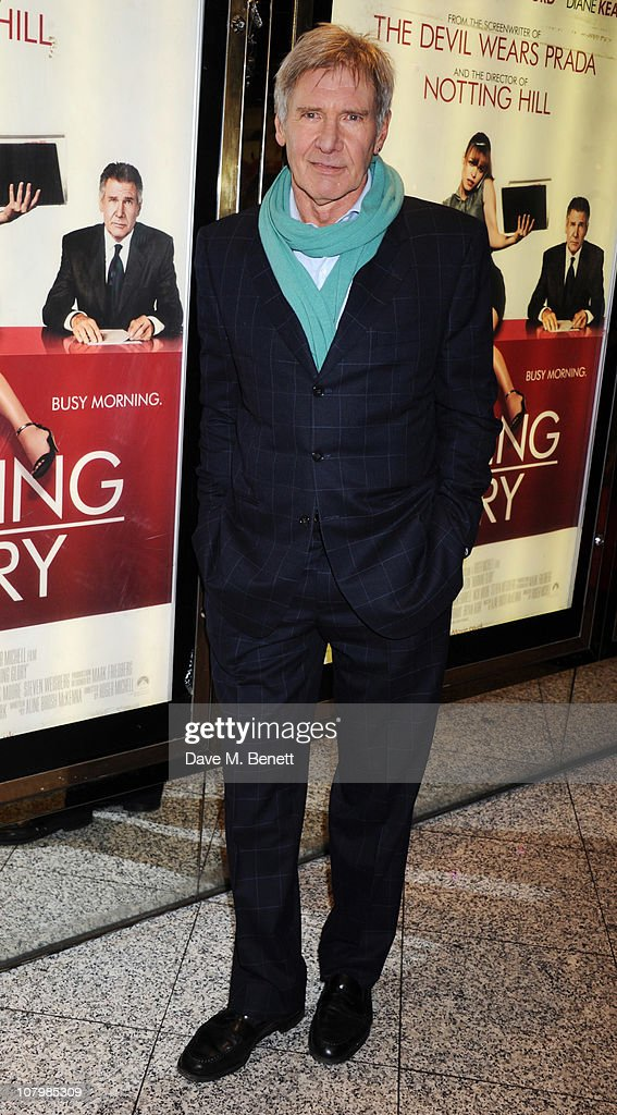 Harrison ford arrives at the uk film premiere of morning glory at