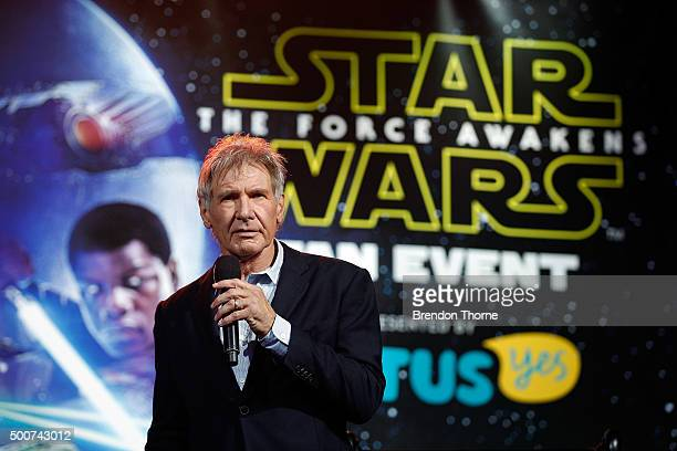 Harrison Ford attends the Star Wars The Force Awakens fan event at Sydney Opera House on December 10 2015 in Sydney Australia