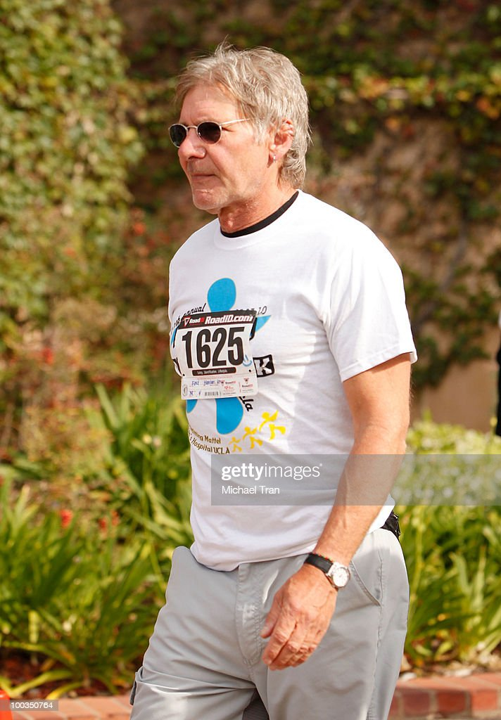 Harrison Ford crosses the finish line at the 11th Annual 5K Mattel Children's Hospital UCLA Benefit held at UCLA Campus on May 23, 2010 in Westwood, California.
