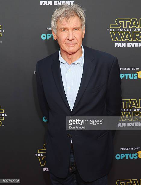 Harrison Ford poses on the red carpet at the Star Wars The Force Awakens fan event at Sydney Opera House on December 10 2015 in Sydney Australia