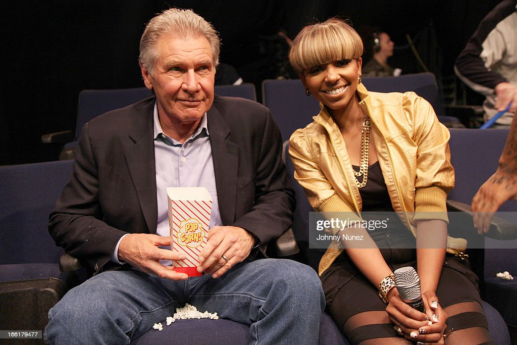 Harrison Ford visits BET's 106 & Park with host Ms. Mykie at BET Studios on April 8, 2013, in New York City.
