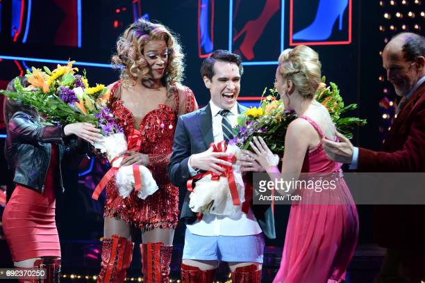 J Harrison Ghee and Brendon Urie of Panic At The Disco makes his broadway debut In 'Kinky Boots' at Al Hirschfeld Theatre on June 4 2017 in New York...