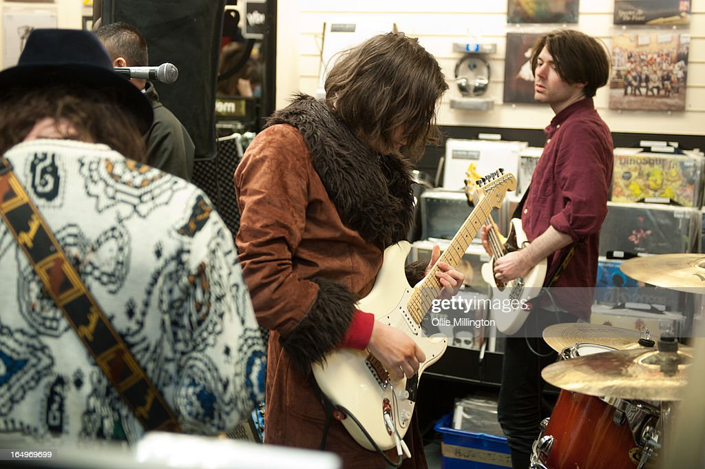 Harrison Koisser and Sam Koisser of Peace performs at their instore gig at Head Records to promote the release of their debut album 'In Love' on March 29, 2013 in Leamington Spa, England.