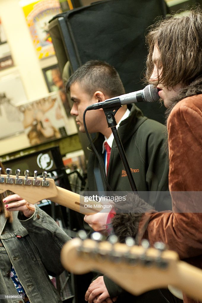 Harrison Koisser of Peace performs during an instore gig at Head Records to promote the release of their debut album 'In Love' on March 29, 2013 in Leamington Spa, England.