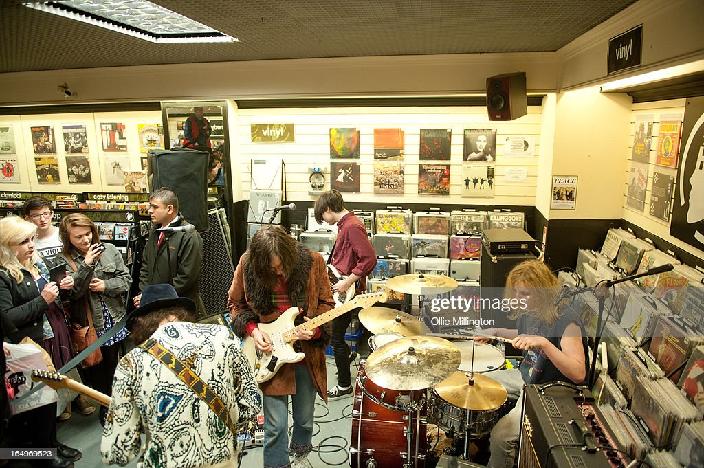 Harrison Koisser, Sam Koisser, Douglas Castle and Dominic Boyce of Peace perform during an instore gig at Head Records to promote the release of their debut album 'In Love' on March 29, 2013 in Leamington Spa, England.