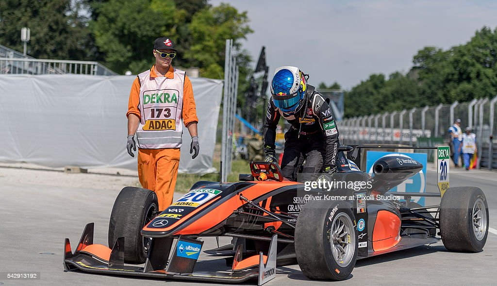 Harrison Newey (GBR) of Team van Amersfoort Racing gets out of his car after an accident during the FIA Formula 3 European Championship at the Norisring during Day 2 of the 74. International ADAC Norisring Speedweekend on June 25, 2016 in Nuremberg, Germany.