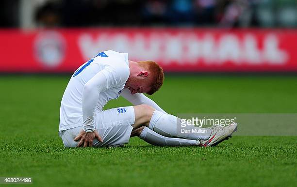 Harrison Reed of England goes down with an injury during the International Friendly match between England U20 and United States U20 at Home Park on...