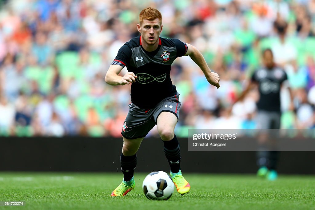 Harrison Reed of Southampton runs with the ball during the friendly match between FC Groningen an FC Southampton at Euroborg Stadium on July 30 2016...