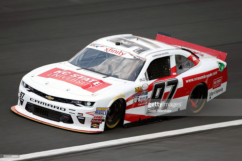 Harrison Rhodes, driver of the #97 NC State Univeristy/Vroom Brands Chevrolet, drives during practice for the NASCAR XFINITY Series Hisense 4K TV 300 at Charlotte Motor Speedway on May 27, 2016 in Charlotte, North Carolina.